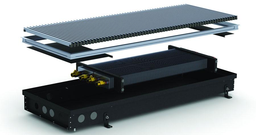 Внутрипольный конвектор Carrera S2 Inox/Black 90/120 (естественная конвекция)