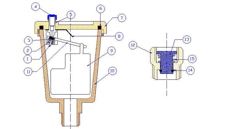 fAV01. FADO Воздухоотводчик автоматический прямой конструкция