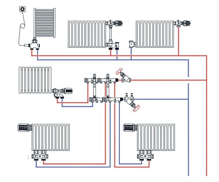схема разводки коллектора отопления