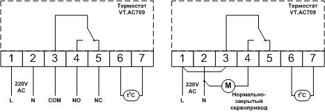 VT.AC709. VALTEC Хронотермостат электронный комнатный с датчиком температуры пола схема