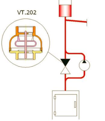 Схема включения обратного клапана VT.202: