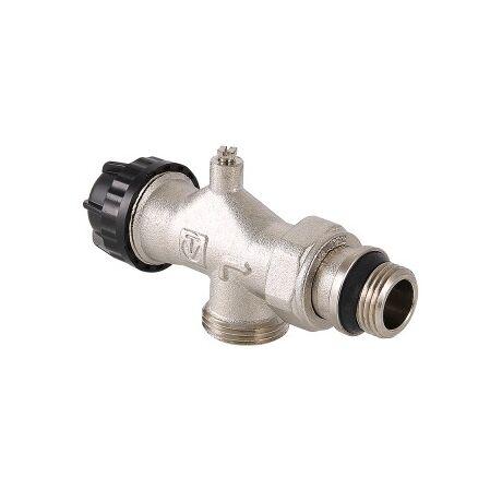 VT.049. VALTEC Клапан термостатический угловой с осевым управлением, предварительной настройкой и воздухоотводчиком